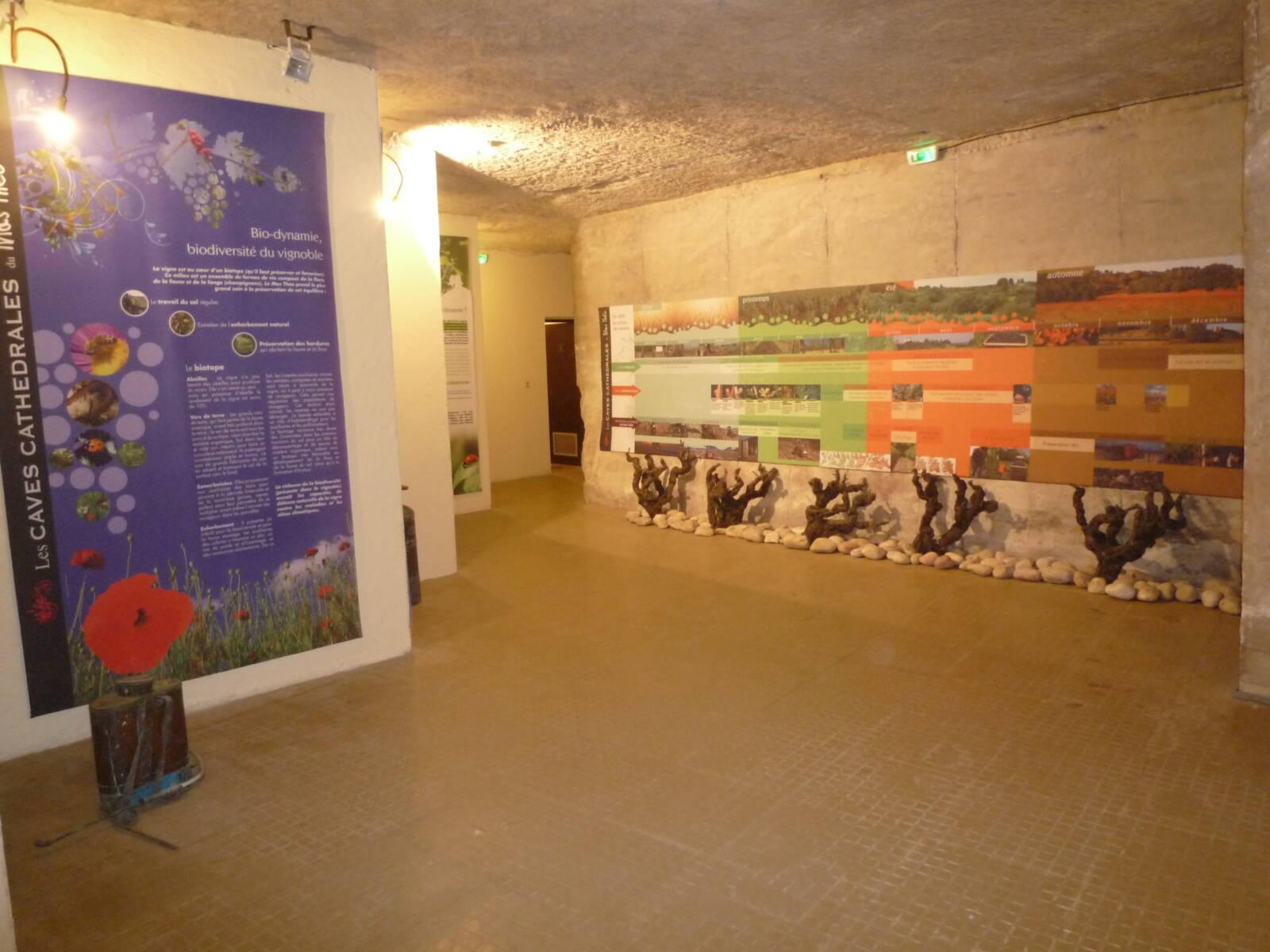 Panneaux du parcours dans les caves cathédrales